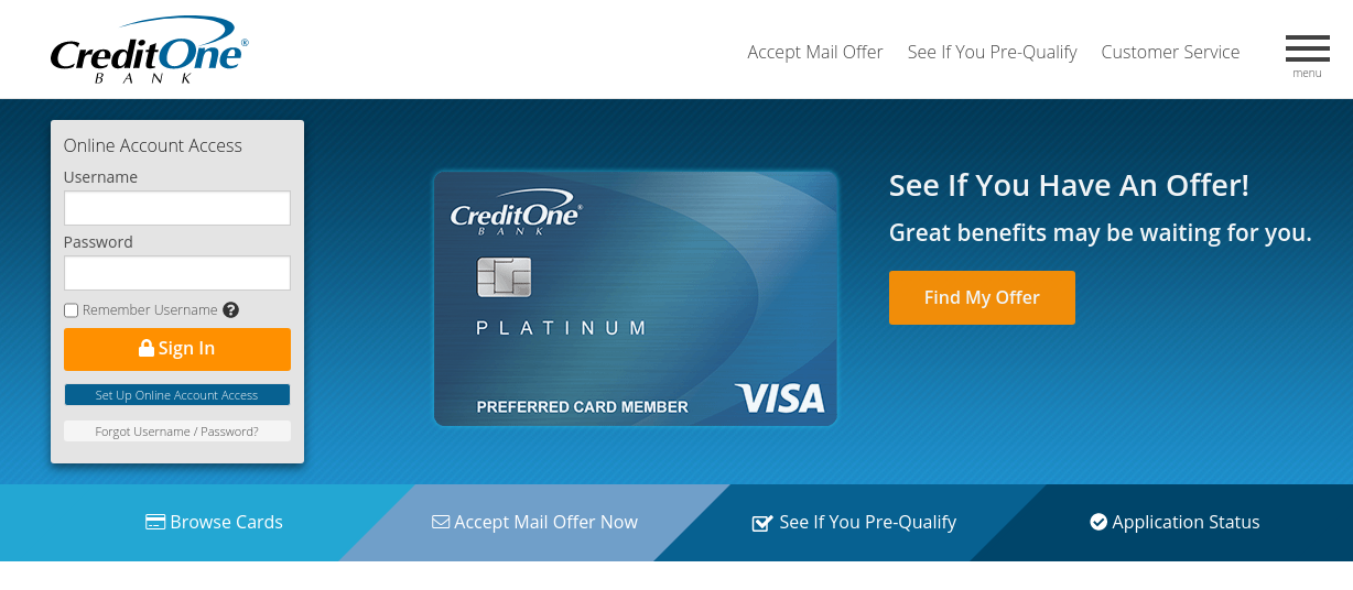 Credit One Card Bank Login