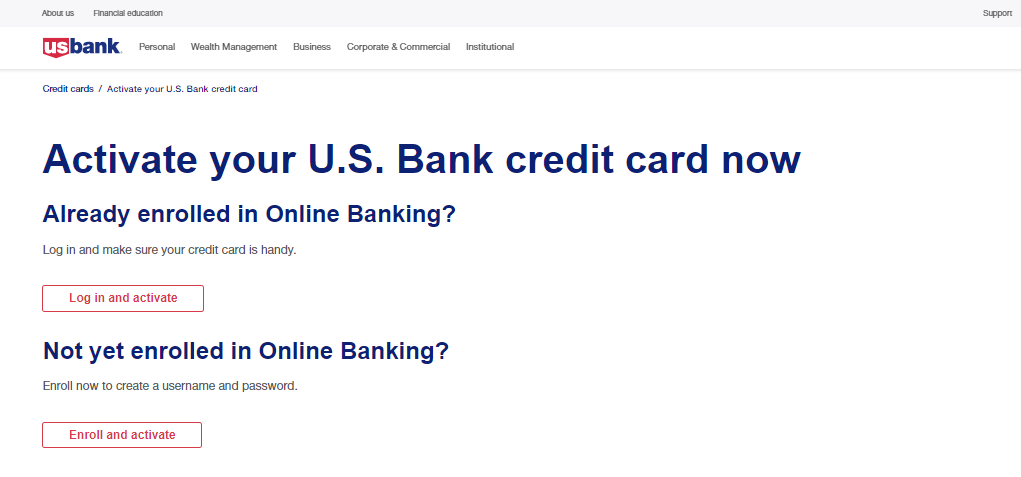 US Bank card Activate