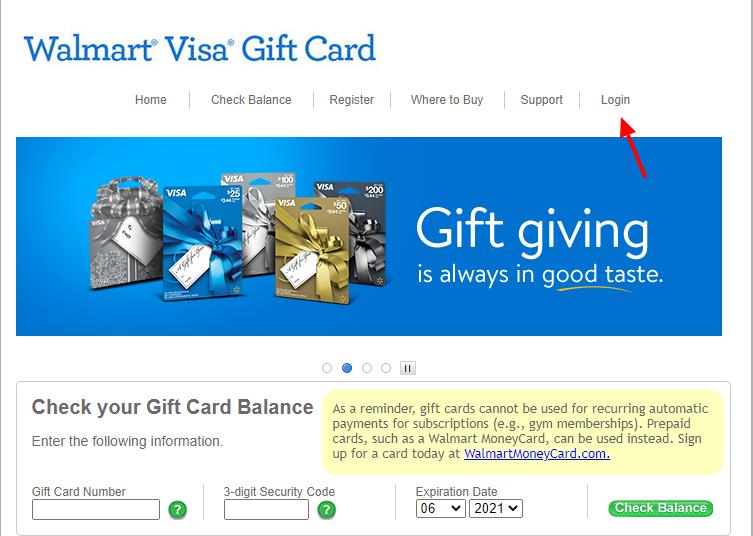 walmart visa gift card login